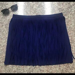 Royal Blue Zara Fringe Skirt